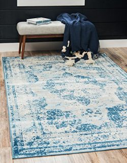 Unique Loom Sofia Collection Traditional Vintage Blue Home Décor Area Rug (5′ x 8′)