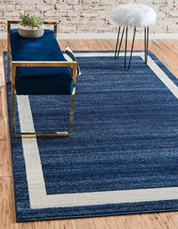 Unique Loom Del Mar Collection Contemporary Transitional Navy Blue Home Décor Area Rug (9′ ...