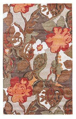 Jaipur Living Petal Pusher Hand-Tufted Floral & Leaves Brown Area Rug (5′ X 8′)