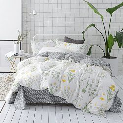 VClife Floral Duvet Cover Sets Full Queen Bedding Sets White Yellow Flower Branches Design Beddi ...