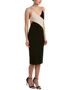 alice + olivia Womens Aurora Silk-Blend Sheath Dress, 0, Black