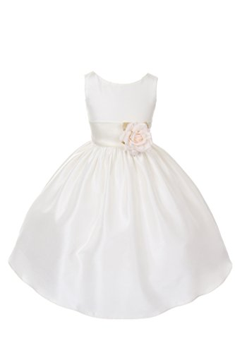 Dempsey Marie Poly Silk Flower Girl Dress With colorful Sash – IV/Ivory – 8