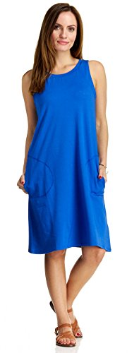 August Silk Women's Sleeveless Cut Away Shoulder Jewel Neck Dress, Blue Burst, Small