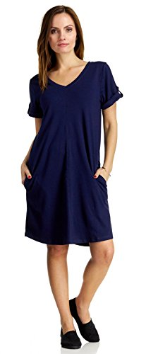 August Silk Women's Short Sleeve V-Neck Shirtail Dress with Pockets, Parisian Navy, Large