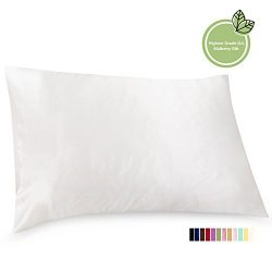 ElleSilk Silk Pillowcase, 22 Momme Premium Quality Mulberry Silk, 100% Mulberry Silk, Anti Bed H ...