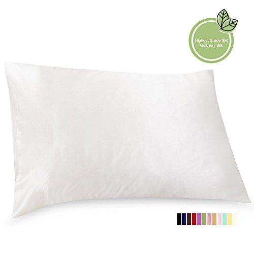 ElleSilk Silk Pillowcase, 22 Momme Premium Quality Mulberry Silk, 100% Mulberry Silk, Anti Bed H ...