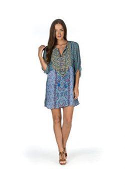 Tolani Women's Elora Lagoon Blue Multi Silk Tunic Dress Large