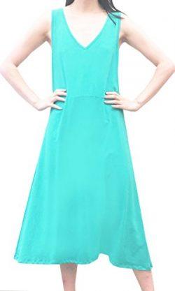 August Silk Women's Sleeveless Crisscross Back Solid A-Line Dress (Ceramic Aqua, XL)