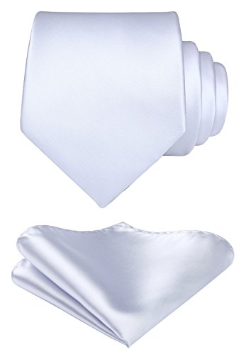 Mens Solid White Tie Classic 3.4″ width Necktie and Pocket Square Set with Gift Box by HISDERN