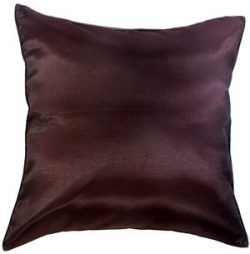 Artiwa 16″x16″ Throw Decorative Silk Pillow Cover : Solid Chocolate Brown Gift Idea
