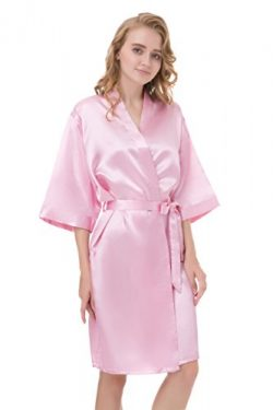 gusuqing Women's Pure Color Short Kimono Robe Sleeve Bridesmaid Robe Pink 38 S