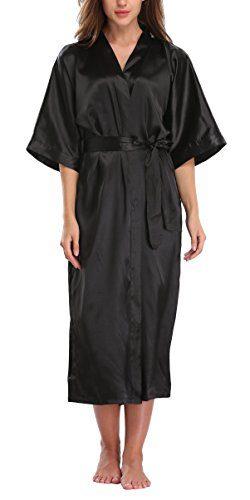 WitBuy Women's Silk Robe Long Satin Kimono Robe Lightweight Bathrobe with Pockets for Brid ...