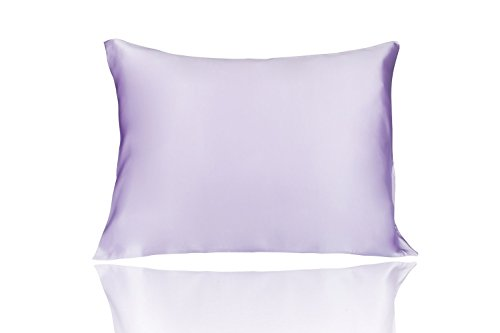 LULUSILK Mulberry Silk Pillowcase for Hair and Skin Standard Size Lavender Pillow Cover for Wrin ...