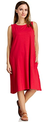 August Silk Women's Sleeveless Cut Away Shoulder Jewel Neck Dress, Ladybug Red, Large