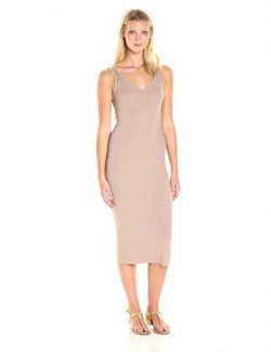 Enza Costa Women's Stretch Silk Rib Tank Midi Dress, Khaki, M