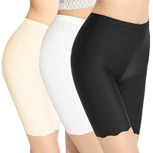 TRISTIN Womens Boxer Briefs Soft Underwear 3-Pack Black/Beige/White Short Panty Silk&Spandex ...