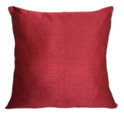 Set of 2 Ruby Red Art Silk Pillow Covers, Plain Silk Cushion Cover, Solid Color Ruby Red Throw P ...