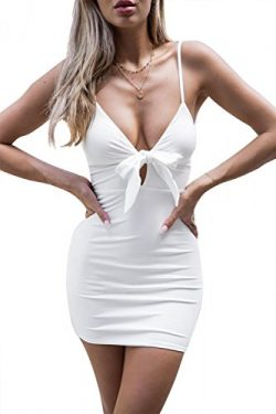SRYSHKR Sexy Plunging V Neck Sleeveless Sequin Bodycon Halter Mini Clubwear Dress (white, S)
