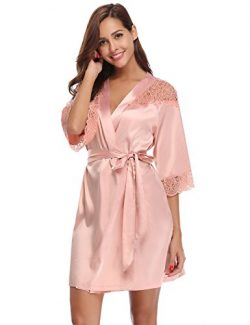 Aibrou Women's Sexy Lace Trim Satin Short Kimono Robe Bathrobe