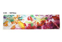 100% Silk Scarf Hand Painted Long Shawl with Hand Rolled Edge Pattern2 16mm collection