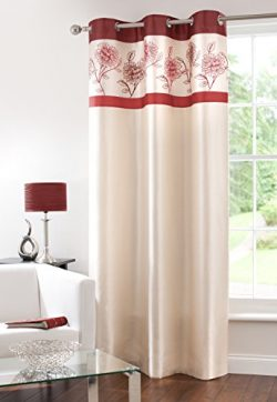 Fully Lined Faux Silk Blackout Curtain Thermal Insulated Room Darkening Engery Saving Drape Nois ...