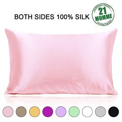 Standard Size 100% Silk Pillowcase for Hair and Skin Both Sides 21 Momme 600 Thread Count Hypoal ...