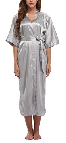 WitBuy Women's Silk Robe Long Satin Kimono Robe Lightweight Bathrobe with Pockets for Brid ...