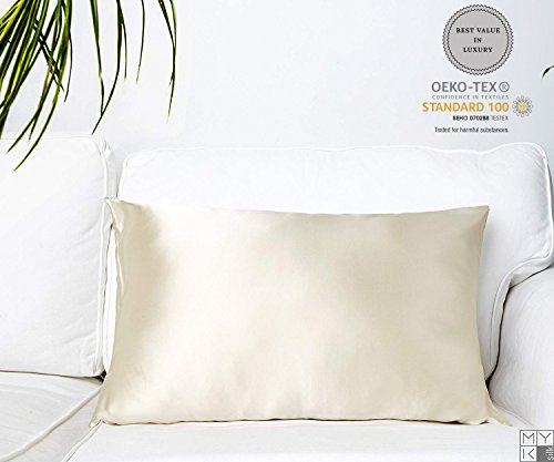 MYK Pure Natural Mulberry Silk Pillowcase, 19 Momme with Both Sides Silk for Hair & Skin, OE ...