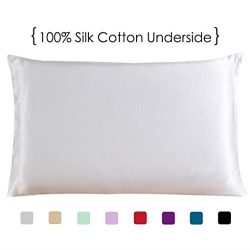 Queen Size Silk Pillowcase with Cotton Underside, White One Side 100% Mulberry Silk Pillow Case  ...