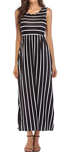 KAY SINN Maxi Dresses for Women Summer Casual Sleeveless Striped with Pockets (XX-Large, Black)