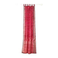 RED Curtain, Burgundy Red and Maroon Border, SARI Curtain, 96″Long panel, FREE GIFT Silk T ...
