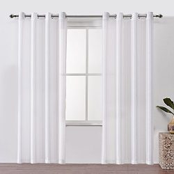 DWCN Sheer Curtains Semi Transparent Voile Grommet Window Curtain Faux Silk Drapes for Bedroom 5 ...