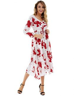 FISOUL Womens Casual Button up Dress V Neck Long Sleeve Summer Floral Maxi Long Dress White Red S
