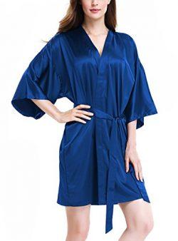 David Archy Women's Stretchy Satin Kimono Robe Bridesmaid Silk Nightwear Short Bathrobe(S, ...