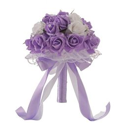 WensLTD_ Wedding Bouquet, Crystal Roses Bridesmaid Wedding Bouquet Bridal Artificial Silk Flower ...