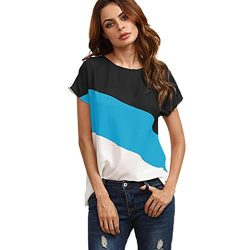 Goddessvan Women's Color Block Blouse Short Sleeve Casual Tee Shirts Tops (S, Blue)