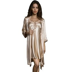 SUNBABY Women Sexy Silk Satin Robe Camisole Pajama Dress Two Piece Suit Sleepwear (S, Champagne)