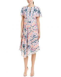 Nanette Lepore Womens Papa's Roses Silk Midi Dress, 0, Pink