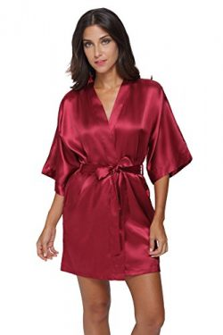 The Bund Women's Pure Colour Short Kimono Robes with Oblique V-Neck, Small, Bordeaux