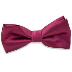 Kids Boys Silk Bow Ties – Adjustable Bowtie for Baby Toddler Gifts (Wine Red)