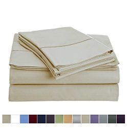 800 Thread Count 100% Long Staple Cotton Sheet Set, Queen Sheets, Luxury Bedding, Queen 4 Piece  ...