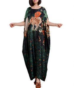 Yesno JM5 Women Long Maxi Floral Dress Ink Painting Colorful Bohemia Loose Fit 100% Silk/Side Po ...