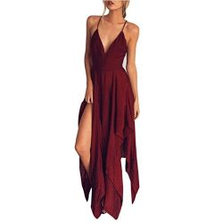 TOPUNDER Summer Women Boho Long Dress Evening Party Cocktail Casual Beach Sundress