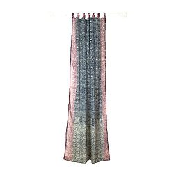 GREY Curtain, Charcoal Grey and Plum Border, SARI Curtain, 84″Long panel, FREE GIFT Silk T ...