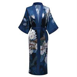 Old-to-new Women's Long Lightweight Elegant Kimono Robe Silk Bathrobe Dressing Gown with F ...