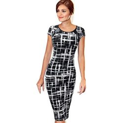 Women Dress Daoroka Ladies Sexy Short Sleeve Elegant Wear Work Office Pencil Sheath Bodycon Casu ...