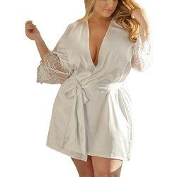 ❤️Women Lace Lingerie Dresses, Sexy Silk Kimono Gown Babydoll Bath Robe Nightwear Cardigan Cover ...