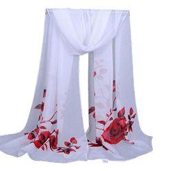 Clearance Sale!Fashion Women Long Soft Wrap scarf Ladies Flower Shawl Chiffon Scarf Scarves (Red)