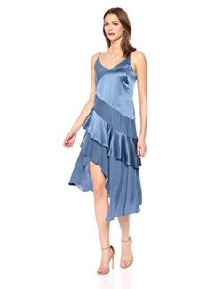 Parker Women's Selma Spaghetti Strap V-Neck Silk Asymmetrical Dress, Vintage Denim, 2