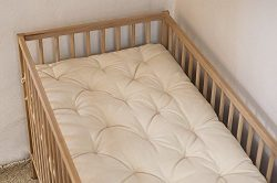 Wool-Filled Topper / Crib or Cot Size / Chemical-free 2″ Pillowtop / Non-Toxic Nursery Bed ...
